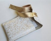 Leather Phone Case / Samsung Galaxy Case/ Leather Pouch Wallet - White With Gold