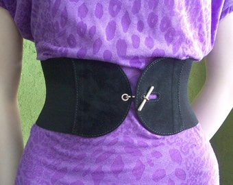 Wide  Elastic Black Suede Belt Made to Order
