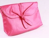 Vintage 1980s Fuchsia Pink Leather Clutch Handbag Purse