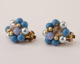 Vintage Earrings 1950s Cornflower Blue Gold Beaded Cluster Clip On