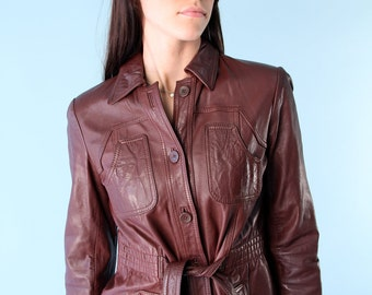 Vintage Leather Jacket 70s Mini Trench Belted Burgundy Fitted s xs Boho