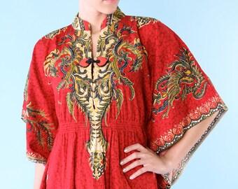 Vintage Maxi Caftan Dress Dashiki Boho Ethnic Asian Thai Small Medium Crimson Red