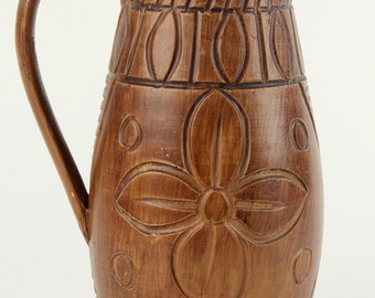 Vintage Brown Carved Floral Vase Pitcher 1960s Italy Hand Painted