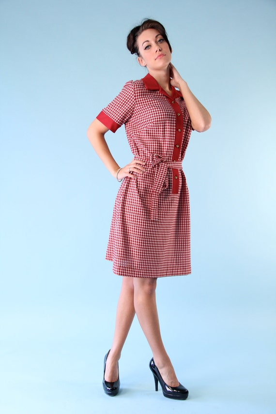 Vintage Mod Mini Tunic Shift Dress Gingham Checkered Plaid s m 60s 70s