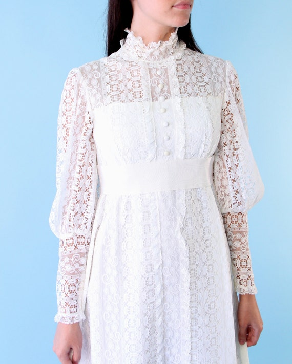 Vintage Boho Victorian White Lace Princess Maxi Dress 60s s Wedding