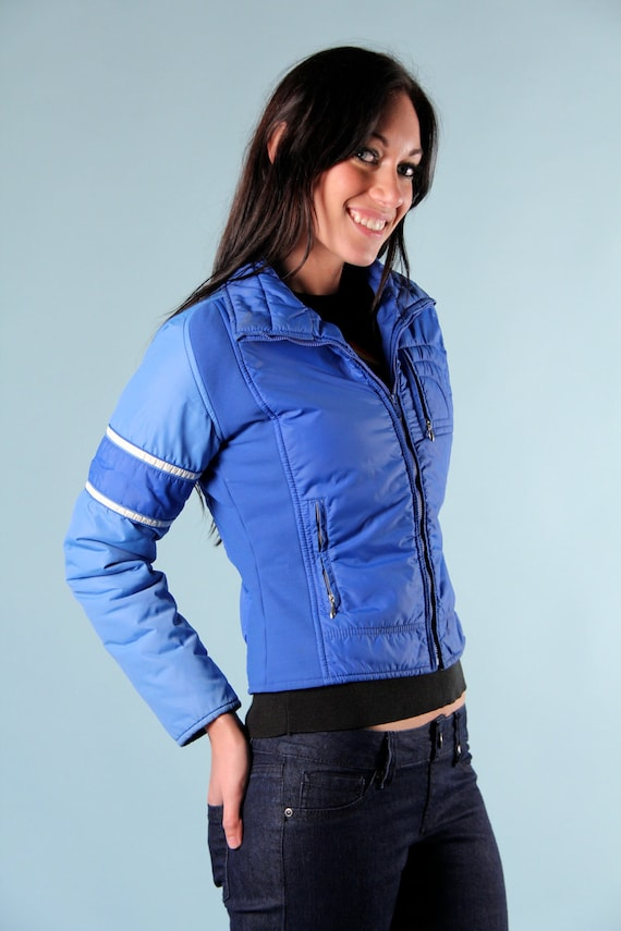 Vintage Winter Blue Ski Cropped Jacket White Stripes s m