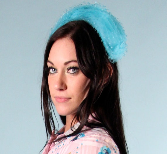 items similar to turquoise blue headband hair items similar to vintage 1960s turquoise blue netted hat