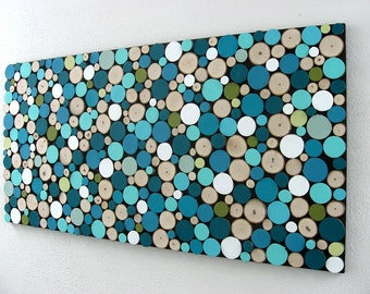 Abstract Painting Circles - Wood Slice Wall Art - Tree Branch Wood Sculpture