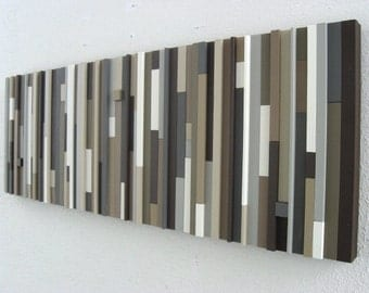 Abstract Painting on Wood - Wall Art in Neutrals - Neutral Artwork