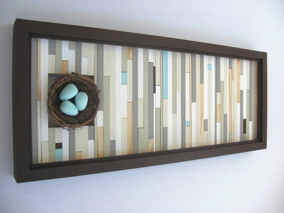 Wood Wall Art Birds Nest Home Decor Wall By ModernRusticArt