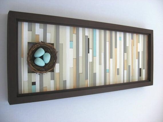 Modern Rustic Wall Decor: Wood Wall Art Birds Nest Home Decor Wall By ModernRusticArt
