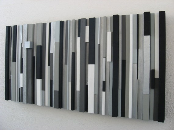Black and White Abstract Art - Wood Sculpture