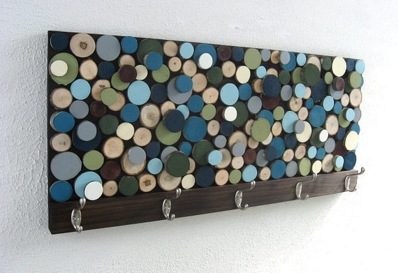 Wall Coat Rack - Wood Towel Rack with Hooks - Wood Slice Abstract Wall Art Wood Sculpture