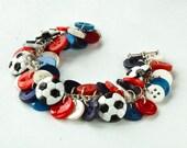 Soccer Charm Button Bracelet