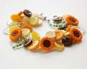 Sunflower Button Charm Bracelet