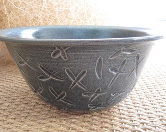 Large Pottery Bowl - Blue, Textured, Handmade and Wheelthrown