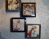 Sweet Girls -- Glass Tile Magnets -- Set Of 4 -- Very Cute --