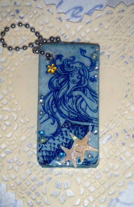 Blue Mermaid Fantasy -- Hand Stamped -- Upcycled Domino Key Chain / Purse Charm