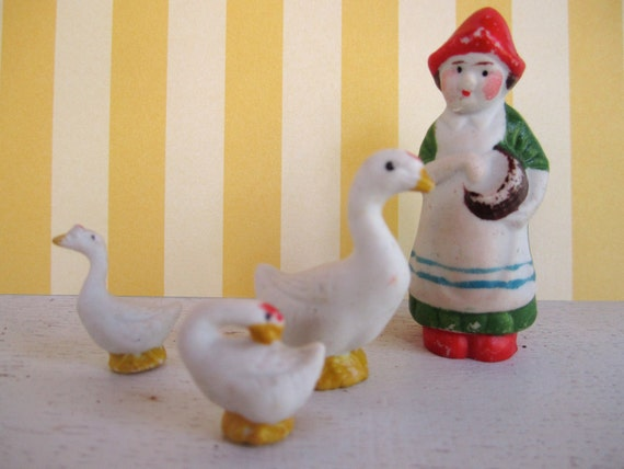 vintage bisque doll and geese set