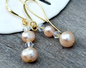 Bridal Earrings Blush Freshwater Pearls with Swarovski Crystals - Gold French Style Ear Wires