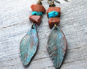 Patina Copper Feather Earrings -  Goldstone Turquoise Metalwork Earrings -  Handcrafted Artisan Dangle Earrings