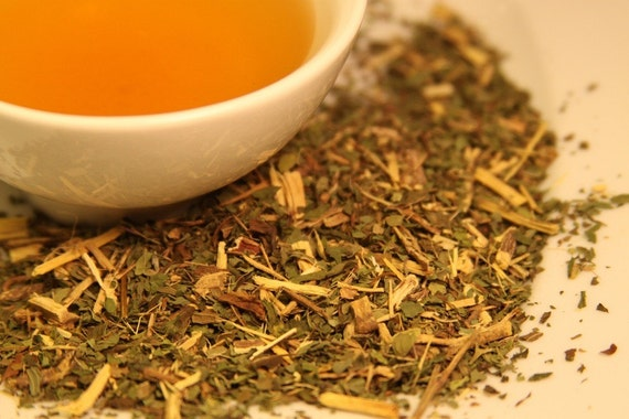 Sweet Mint / Organic Herbal Tea with Mint and Licorice / Zanitea Loose Leaf Blend Makes 10 to 12 Cups