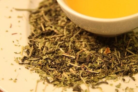 Lemon Sencha / Organic Green Tea with Lemongrass / Zanitea Loose Leaf Blend Makes 10 to 12 Cups