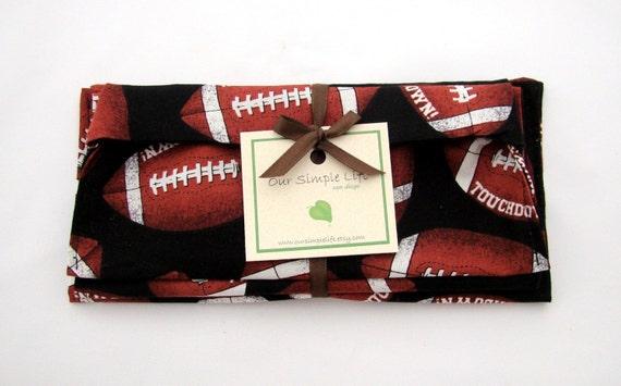SALE - Football Reusable Sports Sandwich, Snack Bag, and Napkin Set
