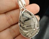 Tourmalated Quartz Silver Backed Pendant