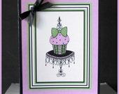 """Designer """"Pink Cupcake"""" Blank Notecard"""