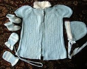 ANTIQUE Infant BABY DOLL Very Vintage Sweater Lot Socks Hat sweaters Booties Blue with white angora fur