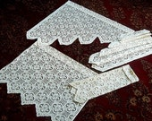 Curtain set Cafe LACE Scalloped Panels with Swags Bone White NET DIAMOND Drapery