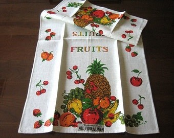 Towel Vintage but NEW Parisian Prints fruit and flowers retro linen print cherries lemons pineapples