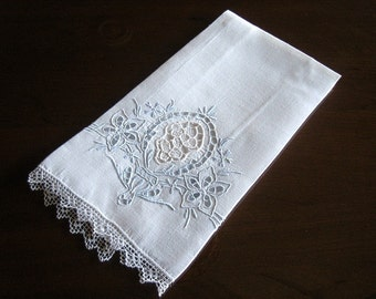 Madeira TOWEL Vintage Hand Embroidered Open Cutwork BLUE WORK Needle Lace Trim