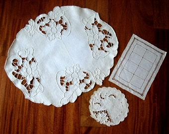 RUNNER table scarf Set of 3 Antique LINEN and Open Cutwork LACE Doily trio