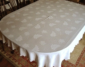 DAMASK Tablecloth Vintage Creamy Smooth Supple Silhouette MAPLE and OAK Leaves