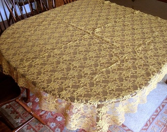 Lace Vintage but NEW Tablecloth Autumn GOLD Needle Lace Roses Fall Color NWOL