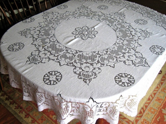 Tablecloth QUAKER LACE Style tablecloth Round Bone White Cotton Star Flowers