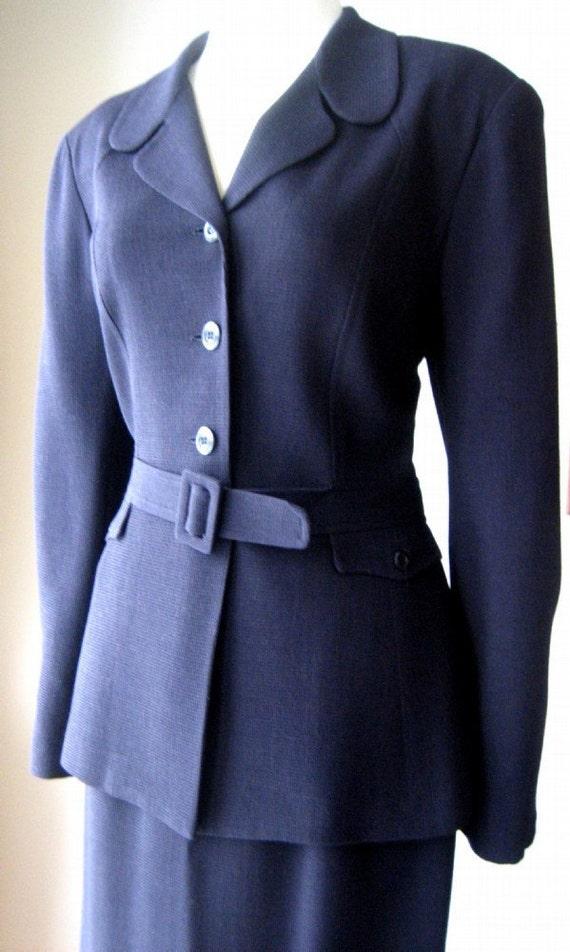 Authentic vintage dress suit Retro Belted Jacket Skirt Blue Office Dress Lined 2 piece SUIT