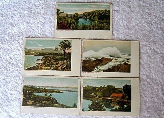 Vintage postcard set Landscape Cityscape People EARLY CENTURY Souvenir Nostalgic panorama vista post card PRINT