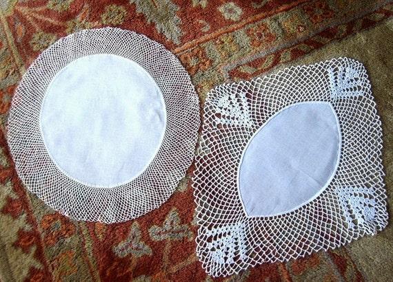 DOILY runner Set 2 LINEN and LACE crisp white center Hand Crocheted Lace