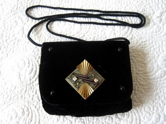 Purse vintage formal Dress Pocketbook VELVET Prom Holiday clutch Designer Diamond Decorations