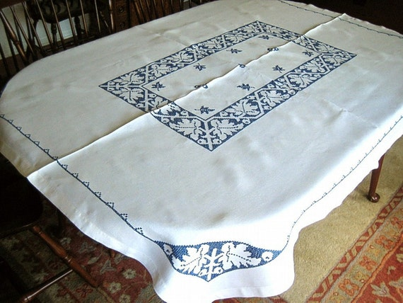 Embroidered Hand Made TABLECLOTH Linen Vintage White Linen BLUE Work LEAVES Crisp Hemstitching