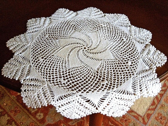 Doily runner Table scarf Crocheted Lace LARGE WHITE Hand  Made topper