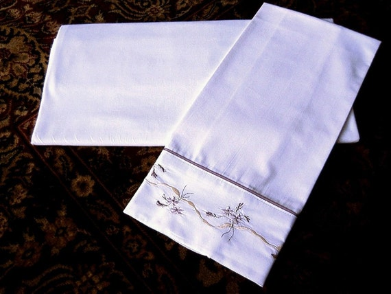 Sheet and pillow case Set vintage hi quality muslin TWIN FLAT with Standard Embroidered Case