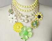 Daisie Mae Necklace, Vintage Jewelry, Yellow, Green, Floral, Recycled CLEARANCE