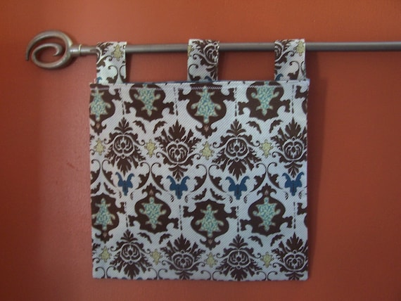 Wall Organizer, Mail Pocket With Damask Fabric