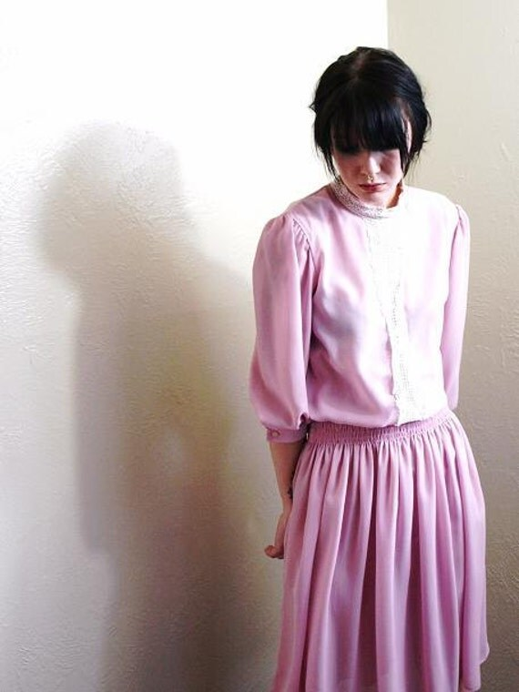 1980s Vintage PInk n Lace Victorian Babe Dress