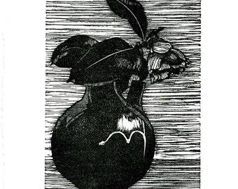 Camellia Jar linoleum block print