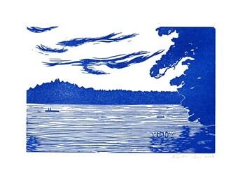 Maine Lake linoleum block print